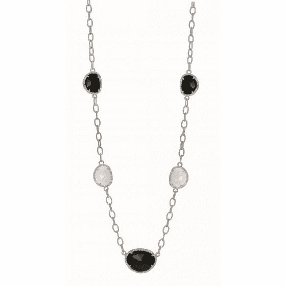 Silver 18Inch Gem Candy Oval Link Diamond/Black & White Agate Necklace
