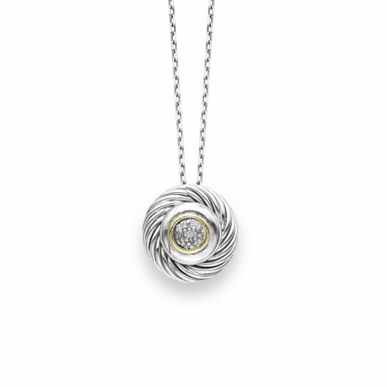 Silver/18k Gold Italian Cable Round Pendant with .03ct Diamond