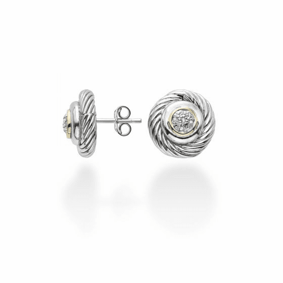 Silver/18k Gold Italian Cable Round Stud Earrings with .05ct Diamonds