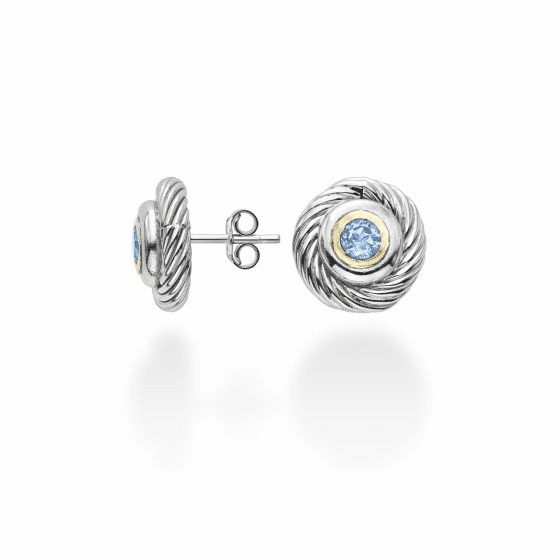 Silver/18k Gold Italian Cable Round Stud Earrings with Blue Topaz