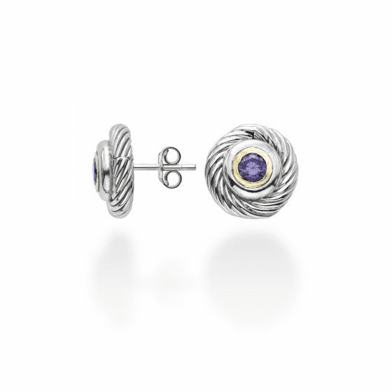 Silver/18k Gold Italian Cable Stud Earrings with Amethyst