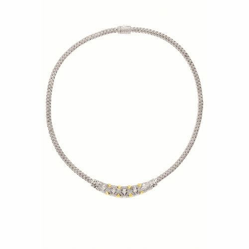Silver/18kt Gold 18 Inch Byzantine Necklace with Graduated Bar Diamond