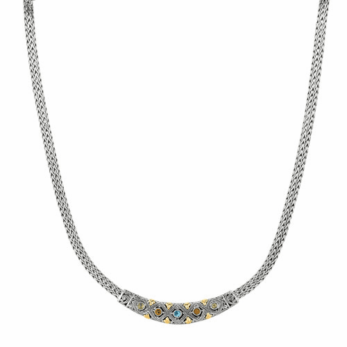 Silver & 18kt Gold 18 Inch Byzantine Necklace with Multi-Gemstone Bar