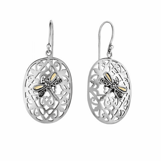Silver/18kt Gold 23X16mm Oval Dragonfly Latticework Euro Wire Earrings