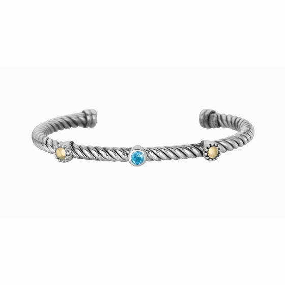 Silver/18kt Gold 3 Stations Italian Cable Blue Topaz Cuff Bangle