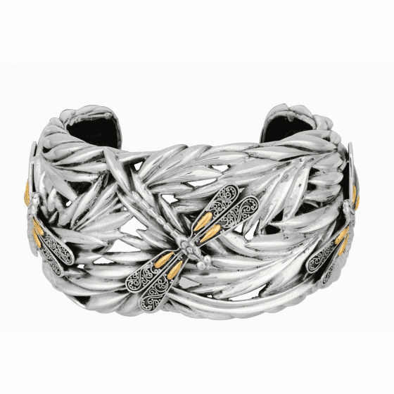 Silver/18kt Gold 37mm Oxidized Dragonfly Bamboo Leaf Wide Cuff Bangle