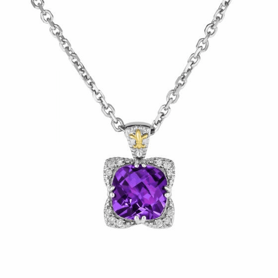 Silver/18kt Gold Amethyst & Diamond Gem Candy Pendant on 18 Inch Chain