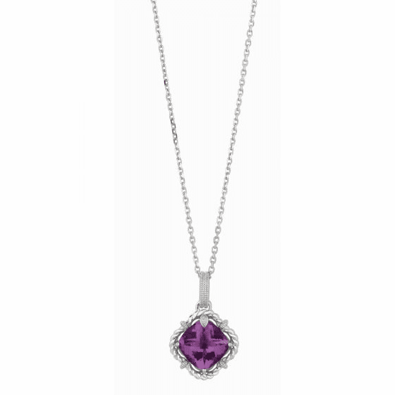 Silver/18kt Gold Amethyst & Diamonds Woven Pendant on 18 Inch Chain