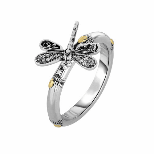 Silver/18kt Gold Bamboo Textured dragonfly Ring with White Sapphires