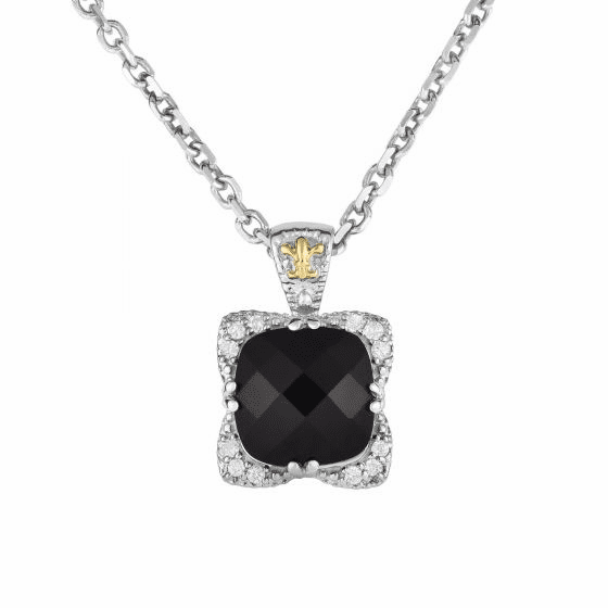 Silver/18kt Gold Black Onyx/Diamond Gem Candy Pendant on 18 Inch Chain