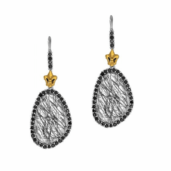 Silver/18Kt Gold Black Rutilated Quartz & Spinel Oval Drop Earrings