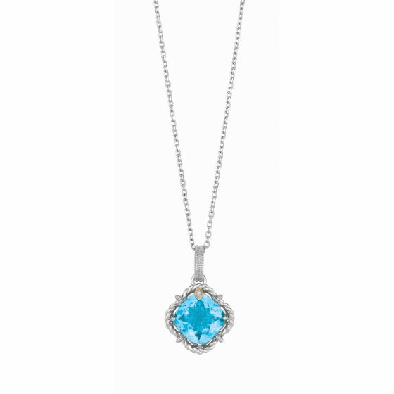 Silver/18kt Gold Blue Topaz & Diamonds Woven Pendant on 18 Inch Chain