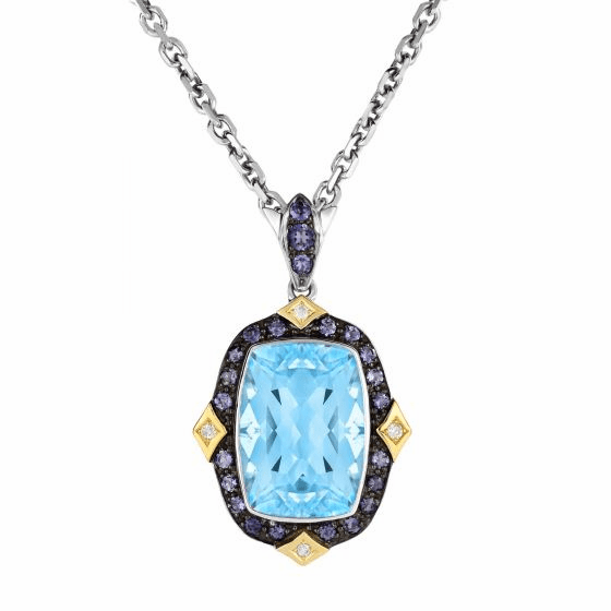 Silver/18kt Gold Blue Topaz, Iolite & Diamond Pendant on 18 Inch Chain