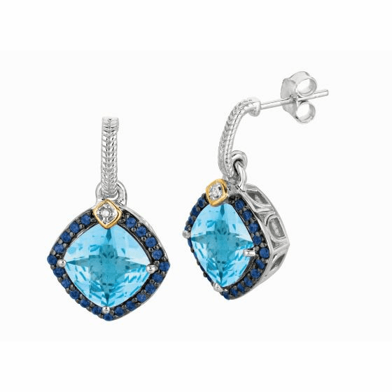Silver/18kt Gold Blue Topaz, Iolite & Diamonds Candy Dangle Earrings
