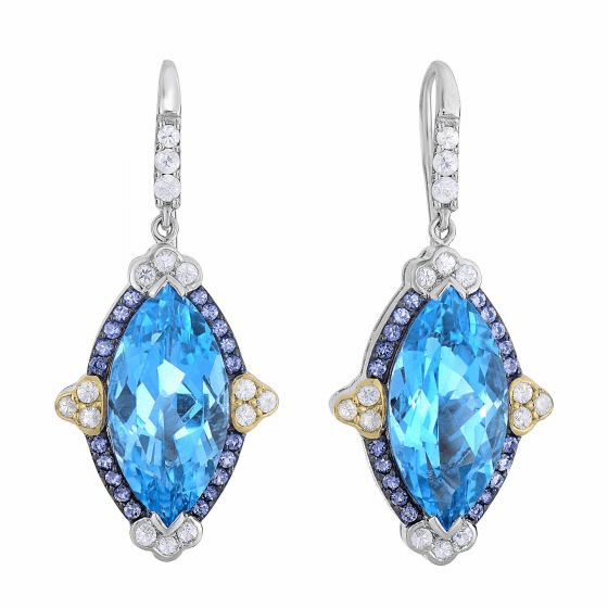Silver/18Kt Gold Blue Topaz, Iolite & White Sapphire Drop Earrings