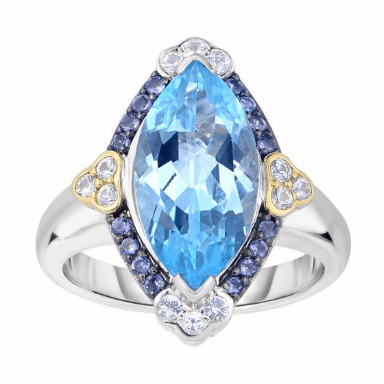 Silver/18kt Gold Blue Topaz, Iolite & White Sapphire Gem Candy Ring