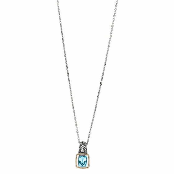 Silver/18kt Gold Byzantine Square Blue Topaz Pendant On 18 Inch Chain