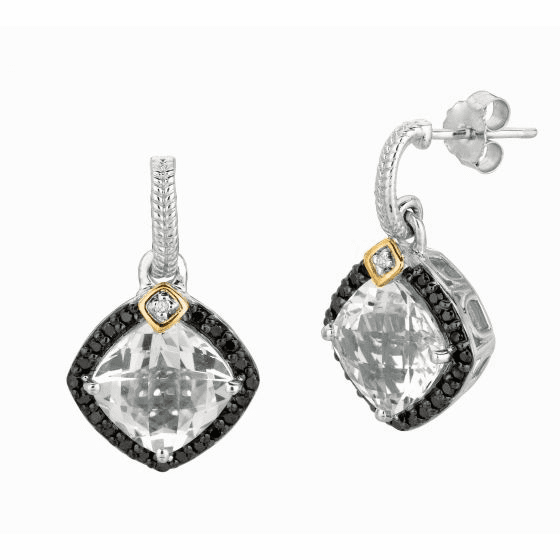 Silver/18kt Gold Crystal Quartz & Diamonds Candy Dangle Drop Earrings