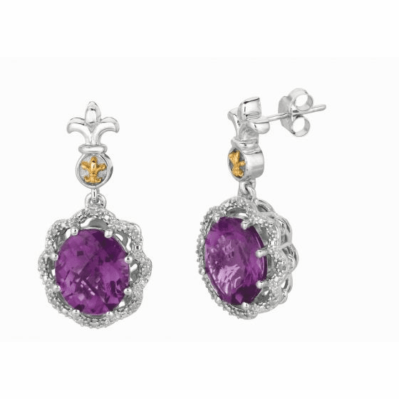 Silver & 18kt Gold Fleur De Lis Drop Earrings with Amethyst & Diamonds