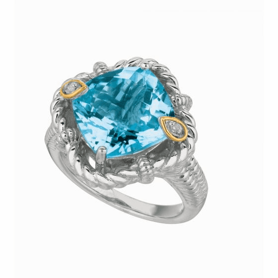 Silver/18kt Gold Gem Candy Cushion Blue Topaz & Diamonds Woven Ring