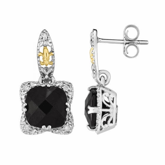 Silver & 18kt Gold Gem Candy Drop Earrings with Black Onyx & Diamonds