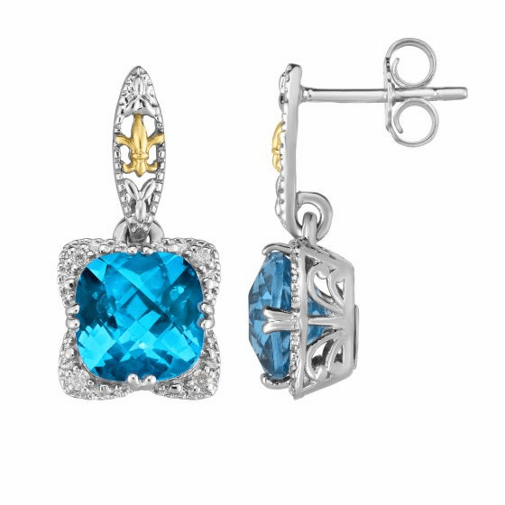 Silver & 18kt Gold Gem Candy Drop Earrings with Blue Topaz & Diamonds
