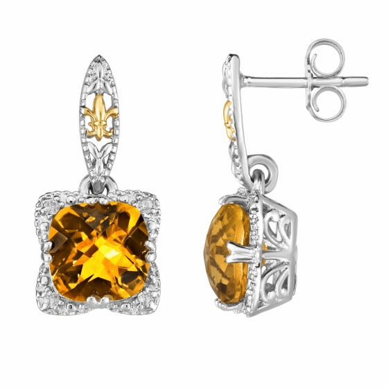 Silver & 18kt Gold Gem Candy Drop Earrings with Citrine & Diamonds