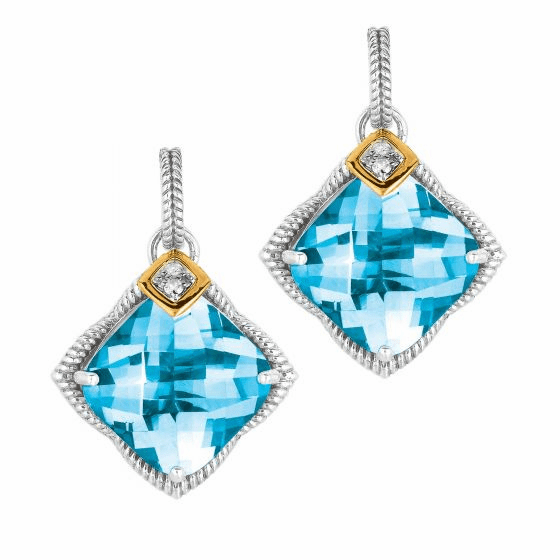 Silver & 18kt Gold Gem Candy Drop Earrings with Diamond & Blue Topaz