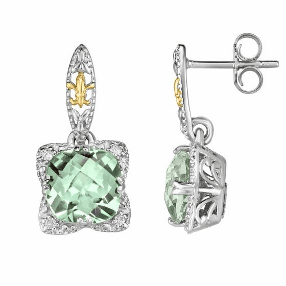 Silver/18kt Gold Gem Candy Drop Earrings with Green Amethyst/Diamonds
