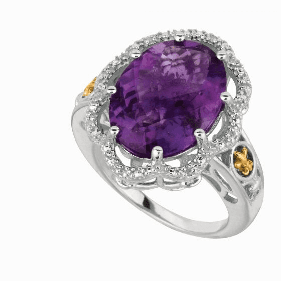 Silver/18kt Gold Gem Candy Large Cushion Oval Amethyst & Diamonds Ring