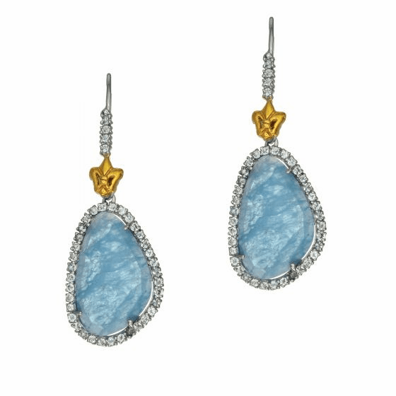 Silver & 18Kt Gold Gem Candy Large Oval Drop Earrings with Aquamarine