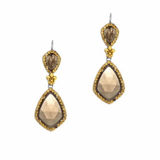 Silver/18Kt Gold Gem Candy Smokey Quartz & Citrine Teardrop Earrings