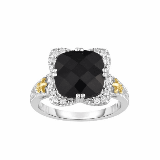 Silver/18kt Gold Gem Candy Square Cushion Black Onyx/Diamonds Ring