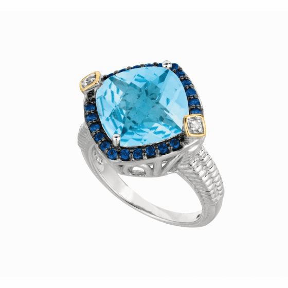 Silver/18kt Gold Gem Candy Square Cushion Blue Topaz/Diamonds Ring