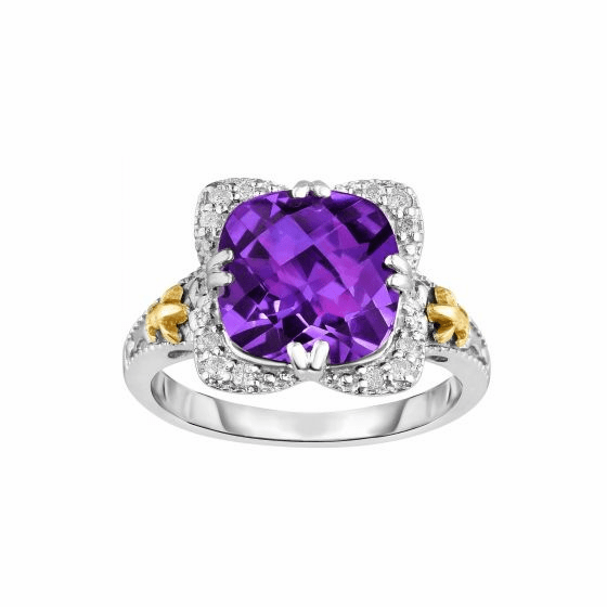 Silver/18kt Gold Gem Candy Square Ring with Cushion Amethyst/Diamonds