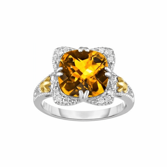 Silver/18kt Gold Gem Candy Square Ring with Cushion Citrine/Diamonds