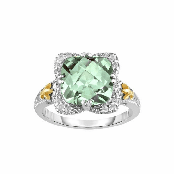 Silver/18kt Gold Gem Candy Square Ring with Green Amethyst & Diamonds