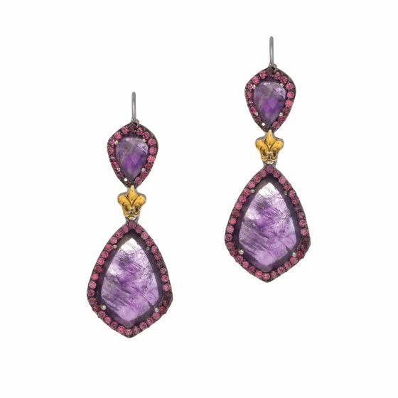 Silver/18Kt Gold Gem Candy Teardrop Earrings with Amethyst & Rodolite