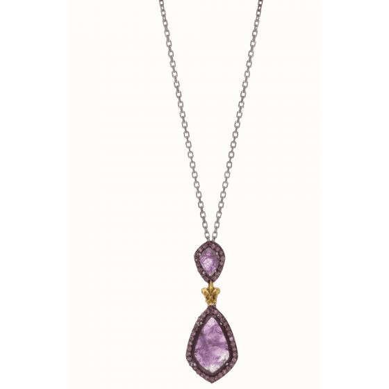 Silver/18kt Gold Gem Candy Teardrop Pendant with Amethyst & Rodolite