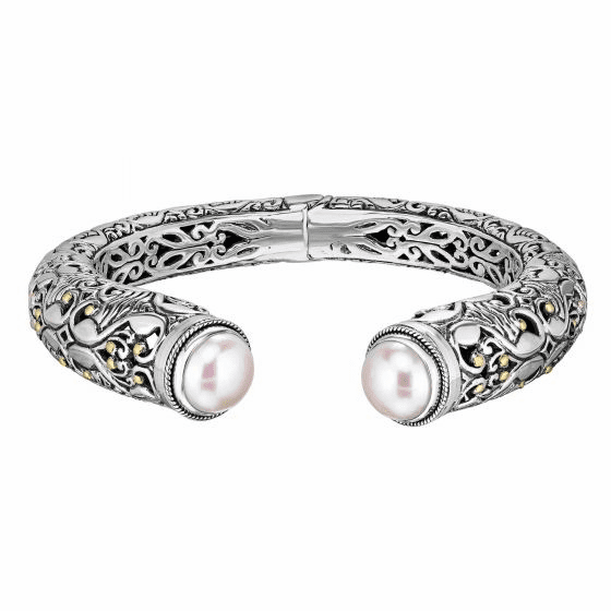 Silver/18kt Gold Graduated Curved Design & White Pearl Cuff Bangle