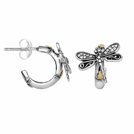Silver/18kt Gold Half-Hoop Dragonfly Post Earrings with White Sapphire