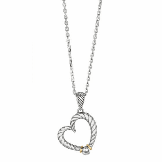 Silver/18kt Gold Italian Cable Heart Diamond Necklace on 18 Inch Chain