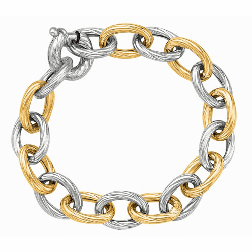 Silver/18kt Gold Italian Cable Link Bracelet with Spring Ring Clasp