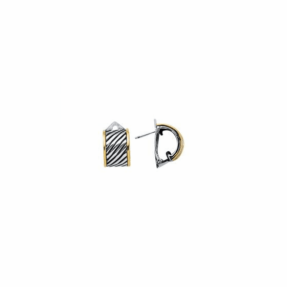 Silver & 18kt Gold Italian Cable Small Earrings with Lever Back Clasp