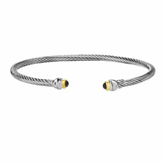 Silver/18kt Gold Italian Cable Stackable Cuff Black Spinel Bracelet