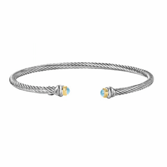 Silver/18kt Gold Italian Cable Stackable Cuff Bracelet with Blue Topaz