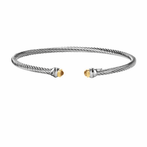 Silver & 18kt Gold Italian Cable Stackable Cuff Bracelet with Citrine