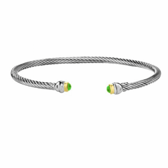 Silver & 18kt Gold Italian Cable Stackable Cuff Bracelet with Peridot