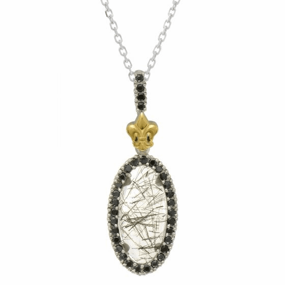 Silver/18Kt Gold Oval Quartz & Black Spinel Pendant on 18 Inch Chain