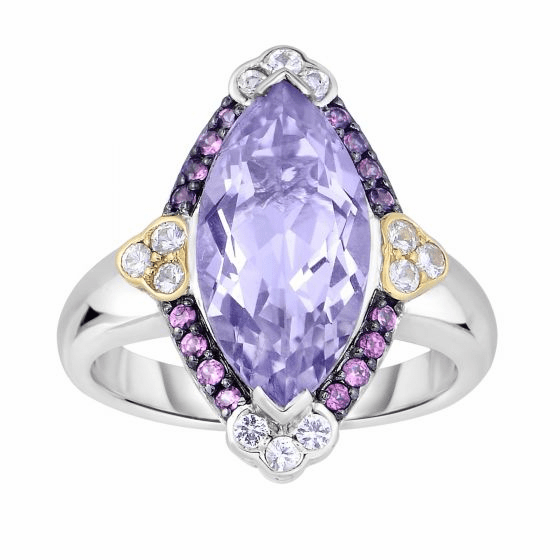 Silver/18kt Gold Pink Amethyst, Rhodalite & White Sapphire Candy Ring